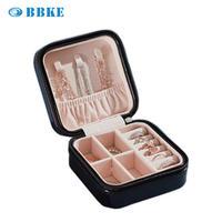 2020 Hot Sale Jewelry Box Pu Leather Storage Box Organizer Earring Holder Zipper Women Jewelry Display Zipper Leather Storage